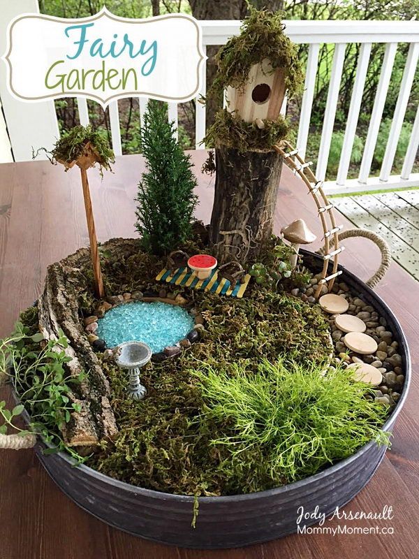 DIY Fairy Garden with a Gorgeous Tree House.