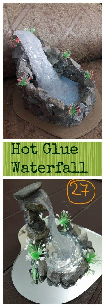 DIY Hot Glue Waterfall for Fairy Garden.
