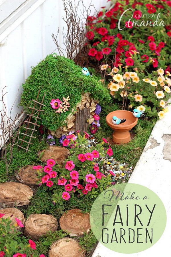 DIY Planter Box Fairy Garden.