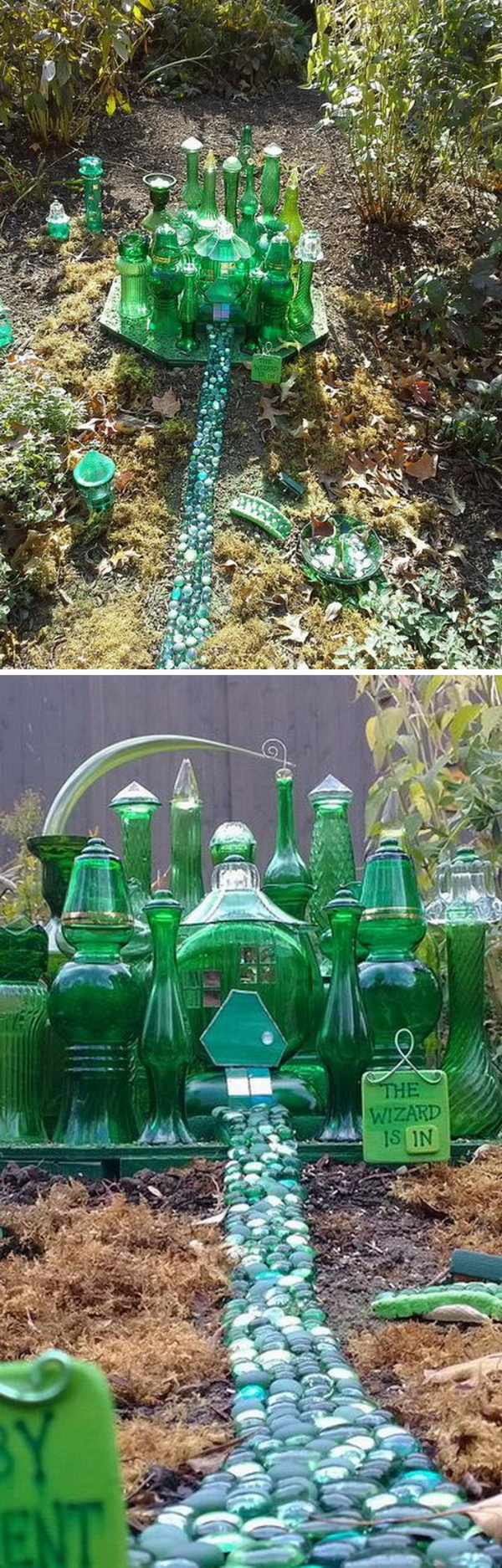 vintage green glass fairy garden