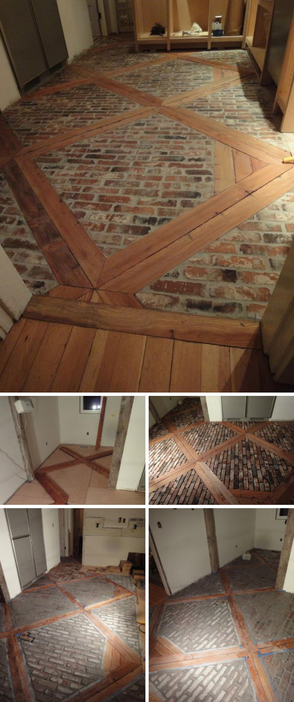 Diy Wood And Brick Floor