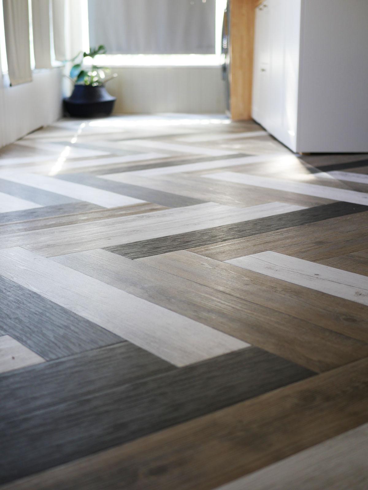 Herringbone Floors With Vinyl Stick Down Planks.
