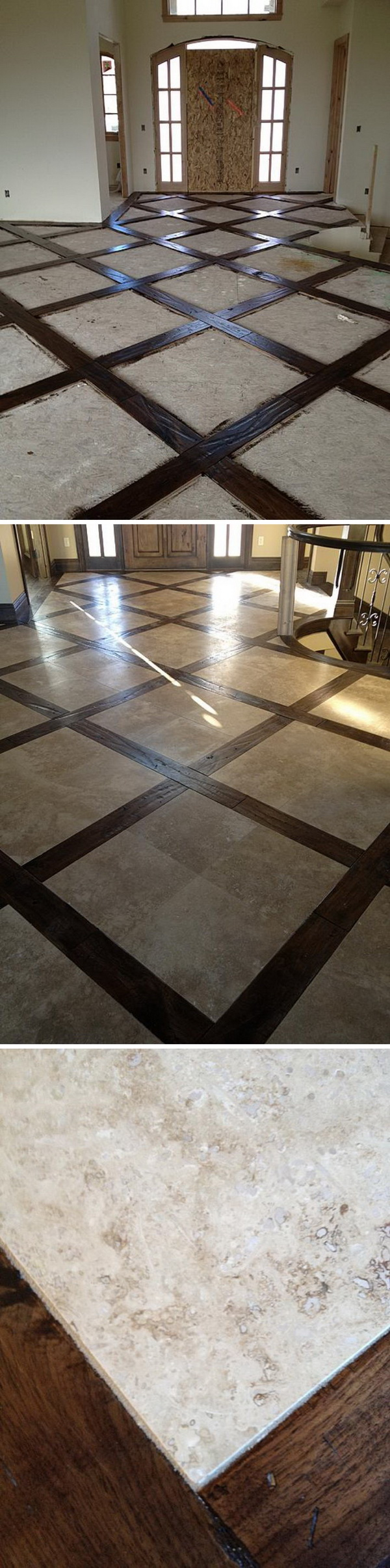 Wood And Tile Basket Weave Floor.