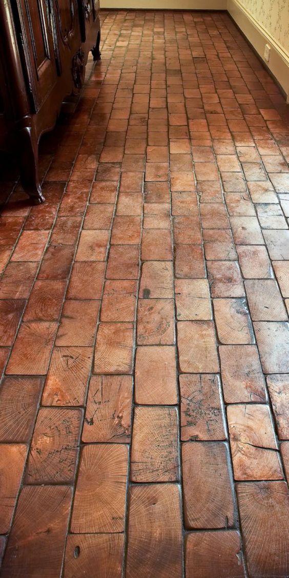 Wood Block Floor Showing End Grain Like An Old Factory Floor.