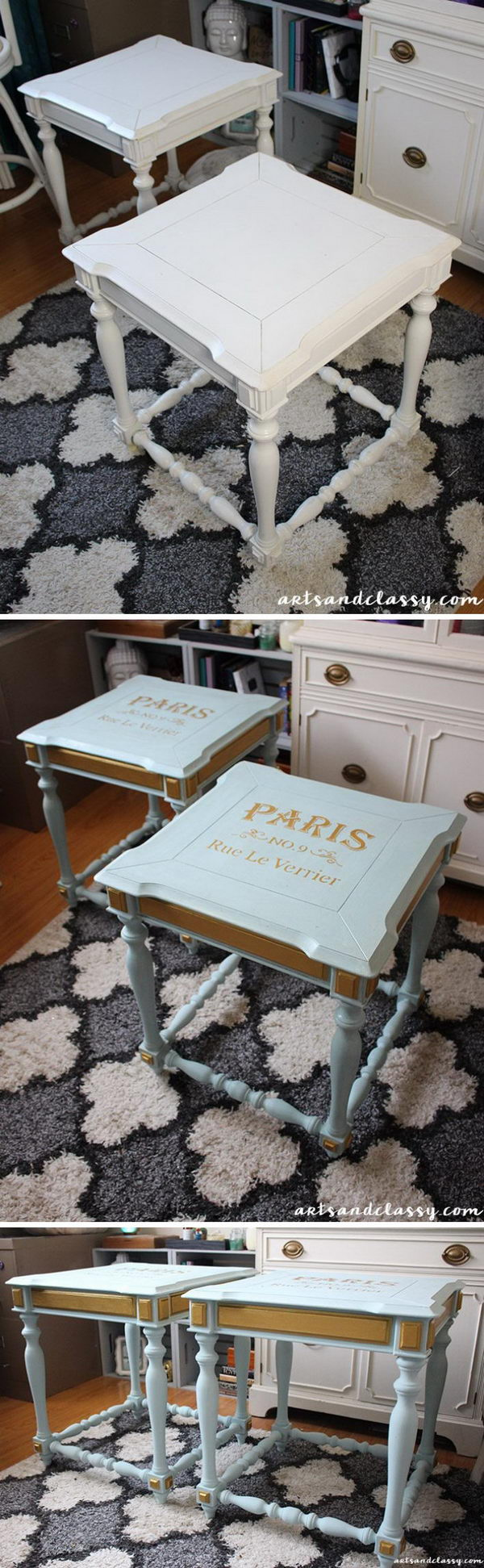 makeover furniture. End Tables Get A French Twist Makeover Furniture