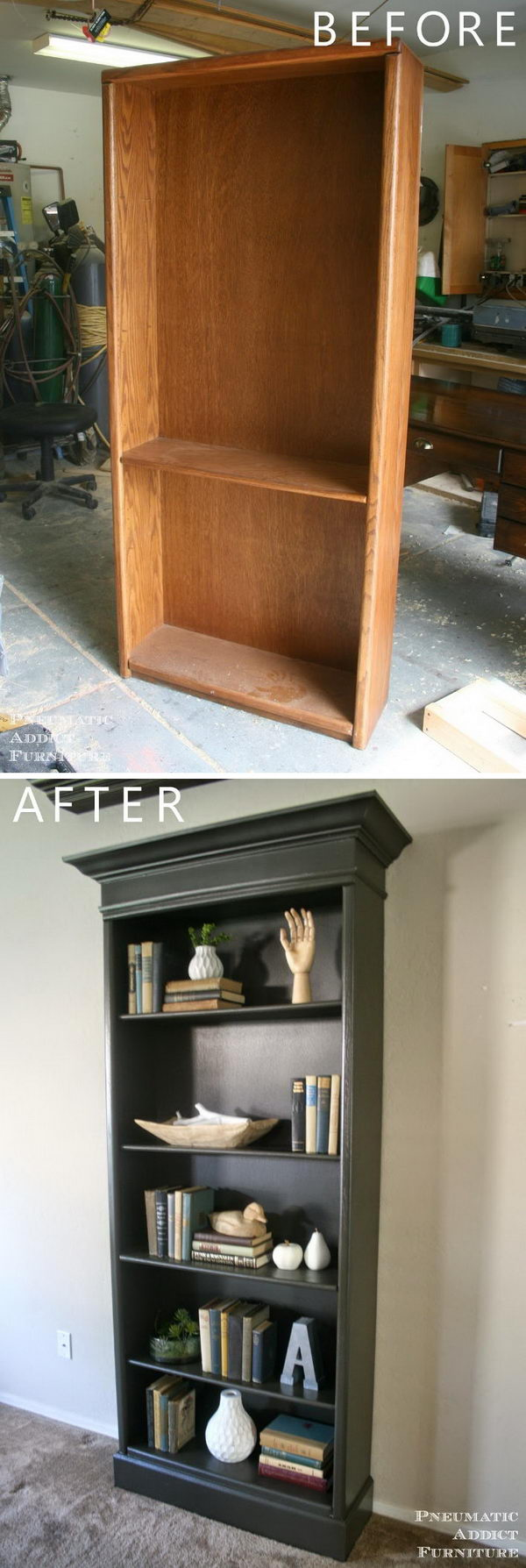 Add Height and Molding to Upgrade Boring Bookshelves.