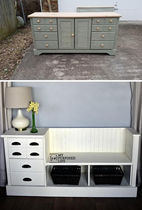 Storage Bench Made from a Dresser.