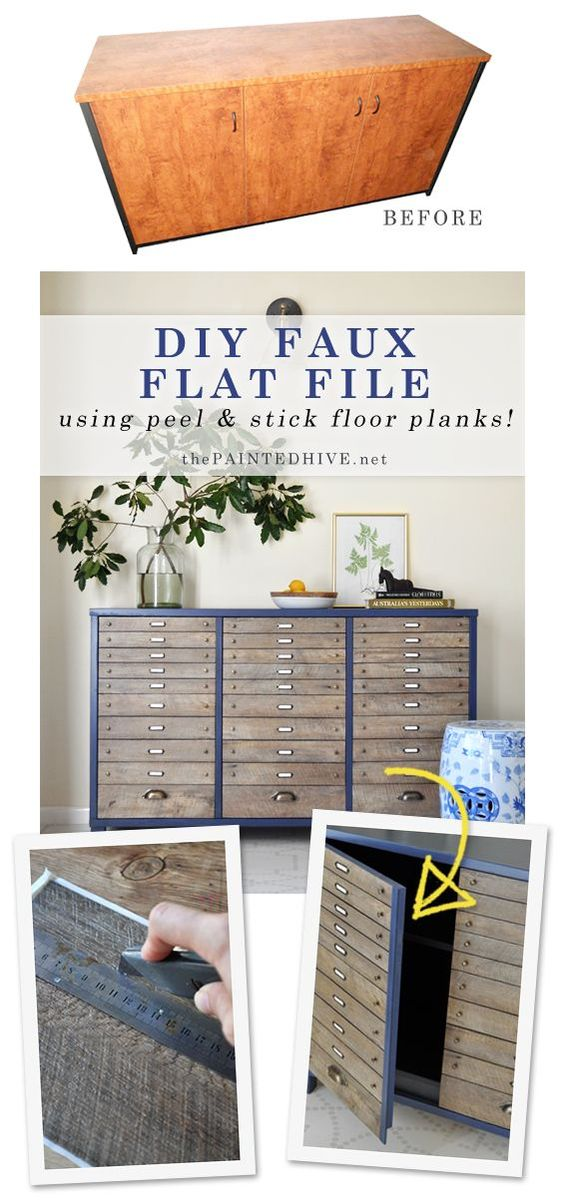 DIY Faux Multi-Drawer Cabinet Using Peel and Stick Flooring.