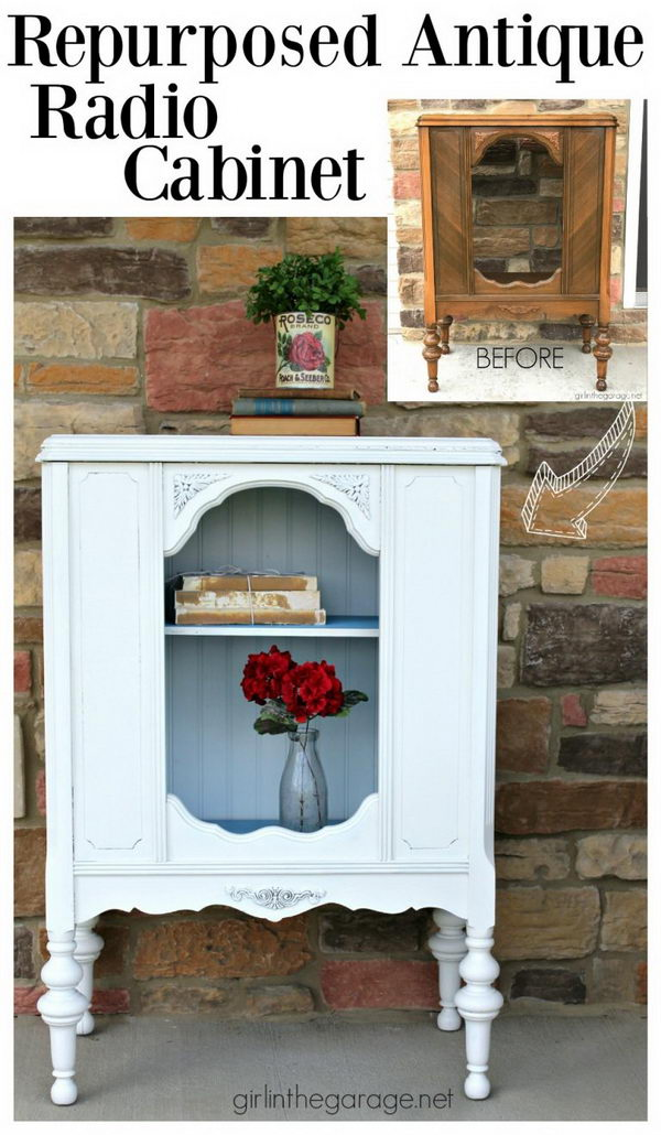 Antique Repurposed Radio Cabinet - 30 Fabulous Furniture Makeover DIY Projects - Hative