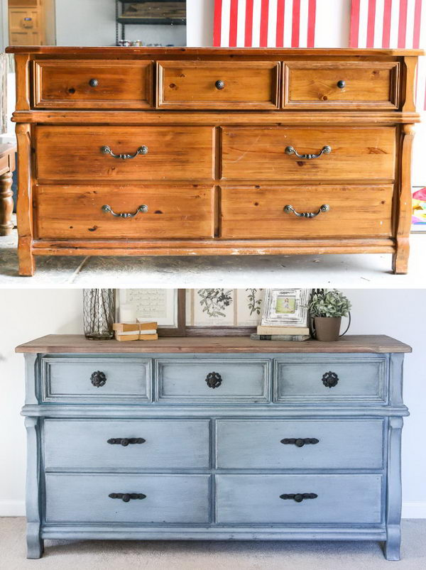 French Blue Dresser Makeover.