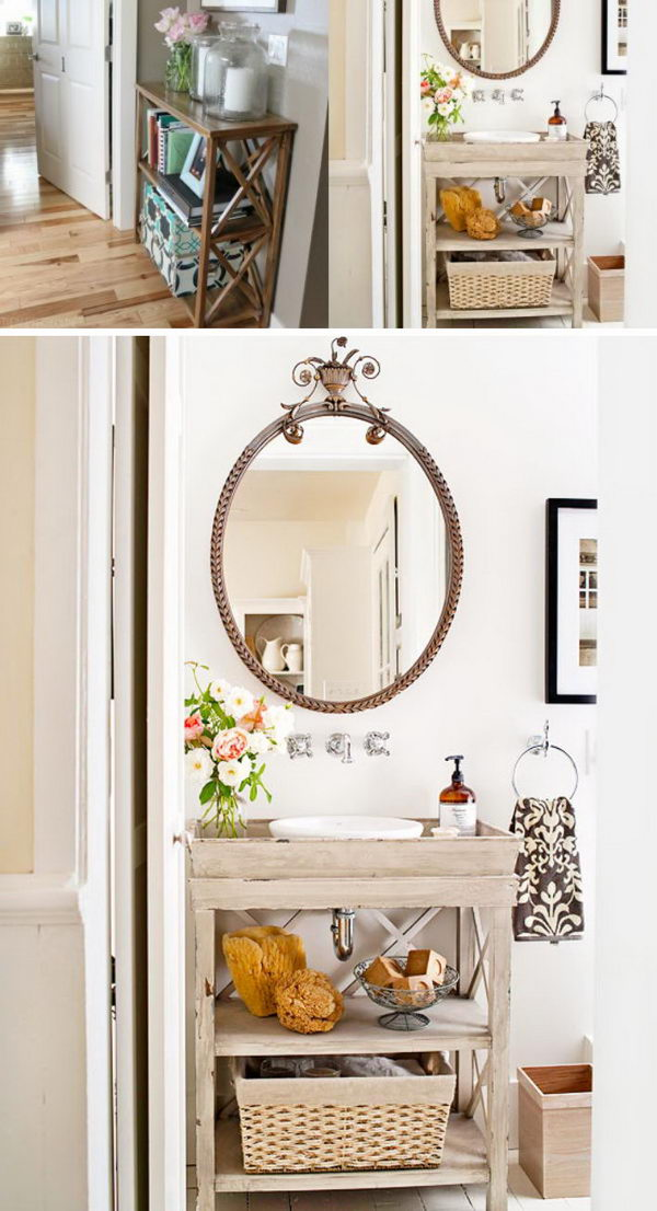 Bathroom Vanity Makeover From a DIY X brace Console Table.