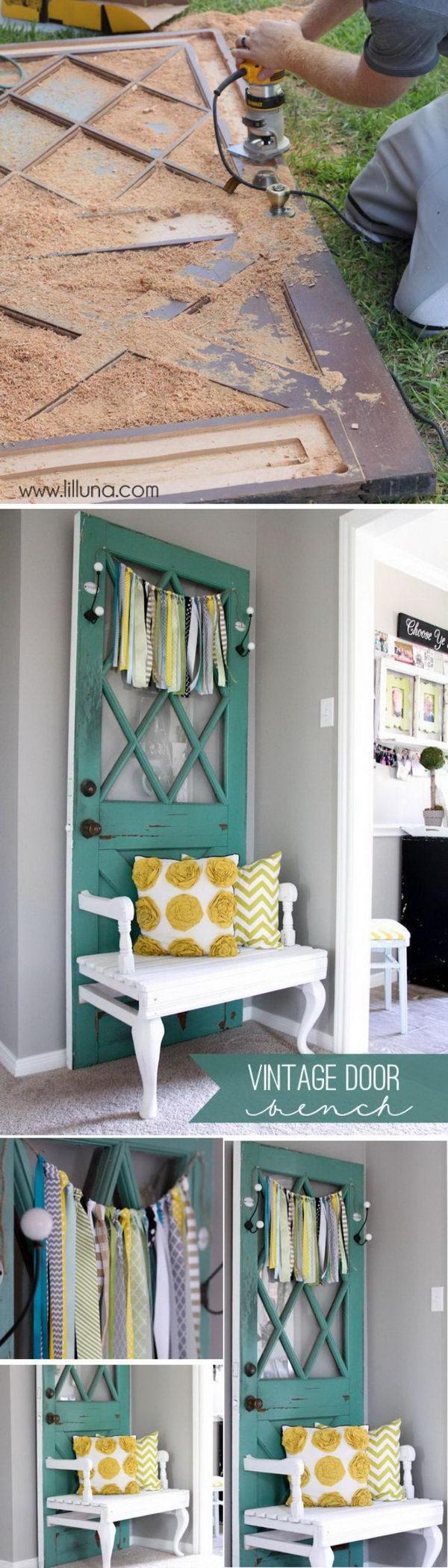 Reuse an Old Door to Make Vintage Door Bench.