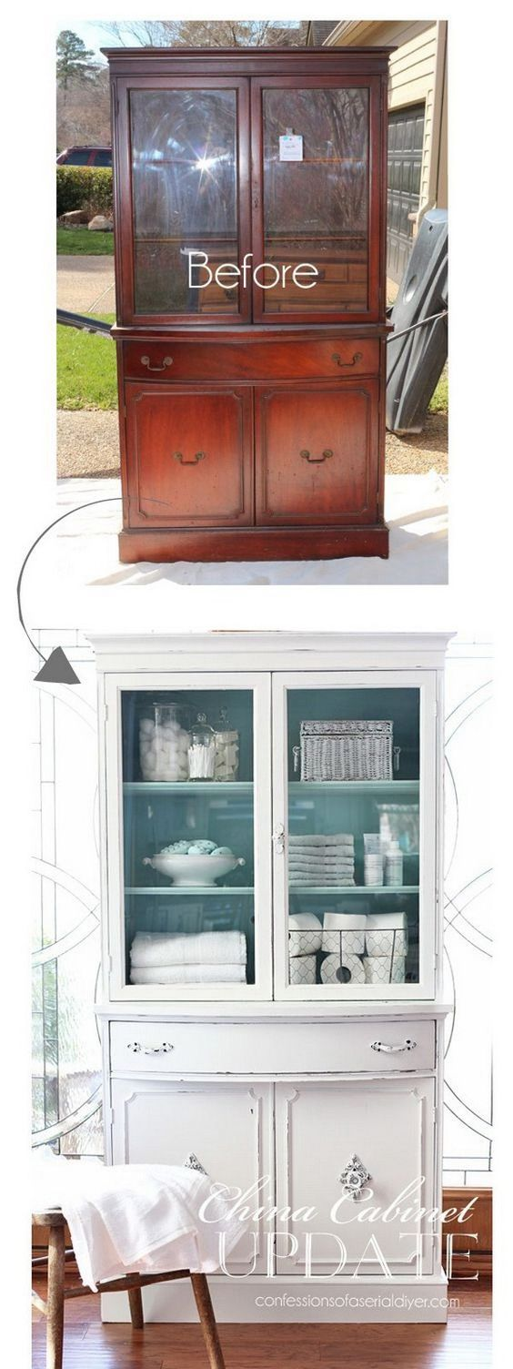 Thrift Store China Cabinet Makeover