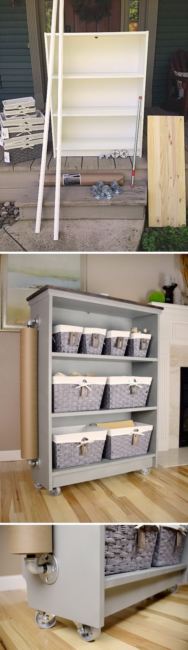 Ikea Billy Bookcase Turned Rolling Craft Cart