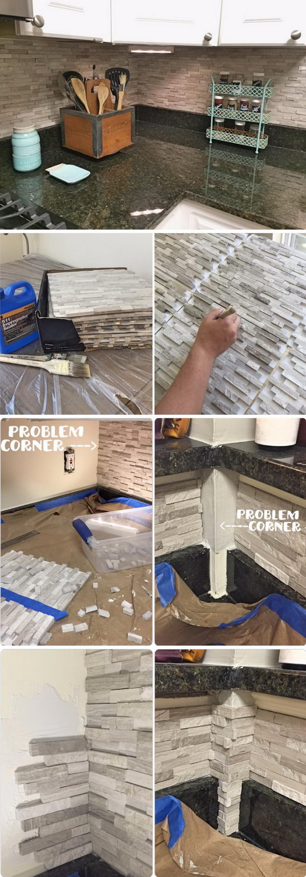 DIY Mosaic Tile Kitchen Backsplash.