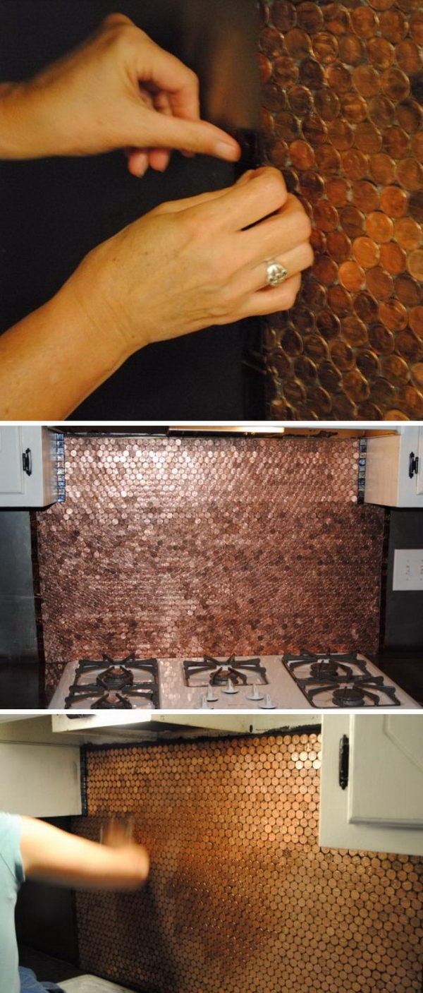 DIY Penny Backsplash.