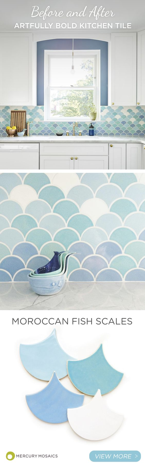 Moroccan Fish Scales In Light Blues Against White Kithchen Bachsplash.