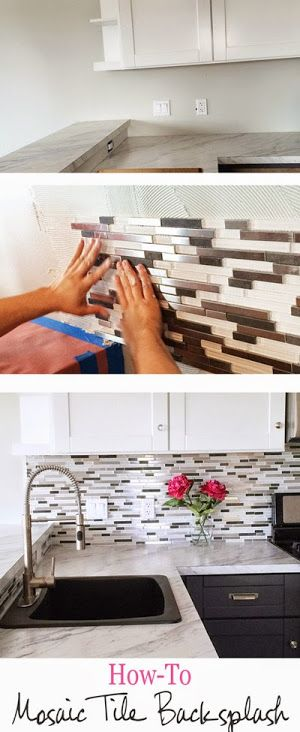 DIY Glass Mosaic Tile Backsplash.