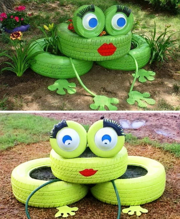 Frog With Flower Planter Tires.
