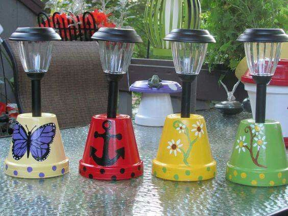 Clay Pot Solar Lights.