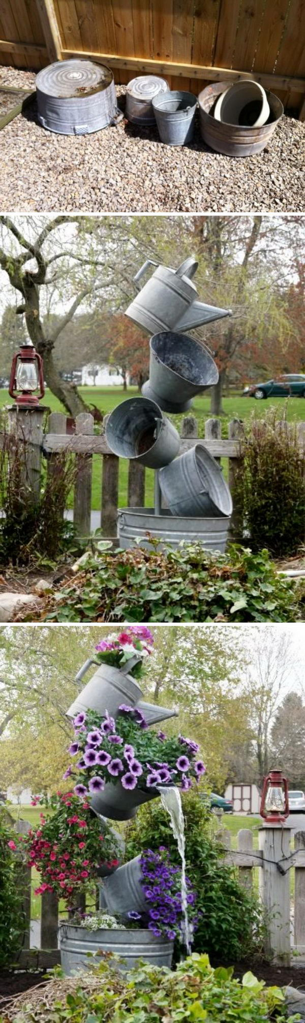 DIY Flower Tower Combining Tipsy Planters And Garden Fountains