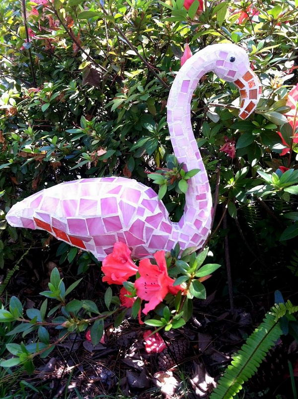 DIY Pink Mosaic Flamingo Garden Art.