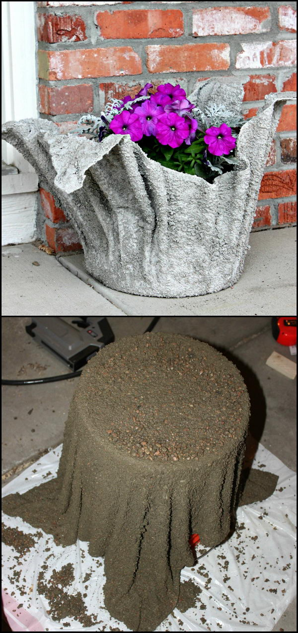 DIY Concrete Planter from an Old Towel.