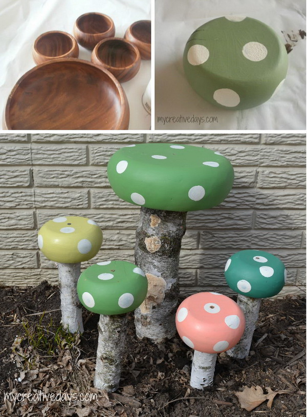 DIY Adorable and Whimsical Toadstools from Wood Bowls.