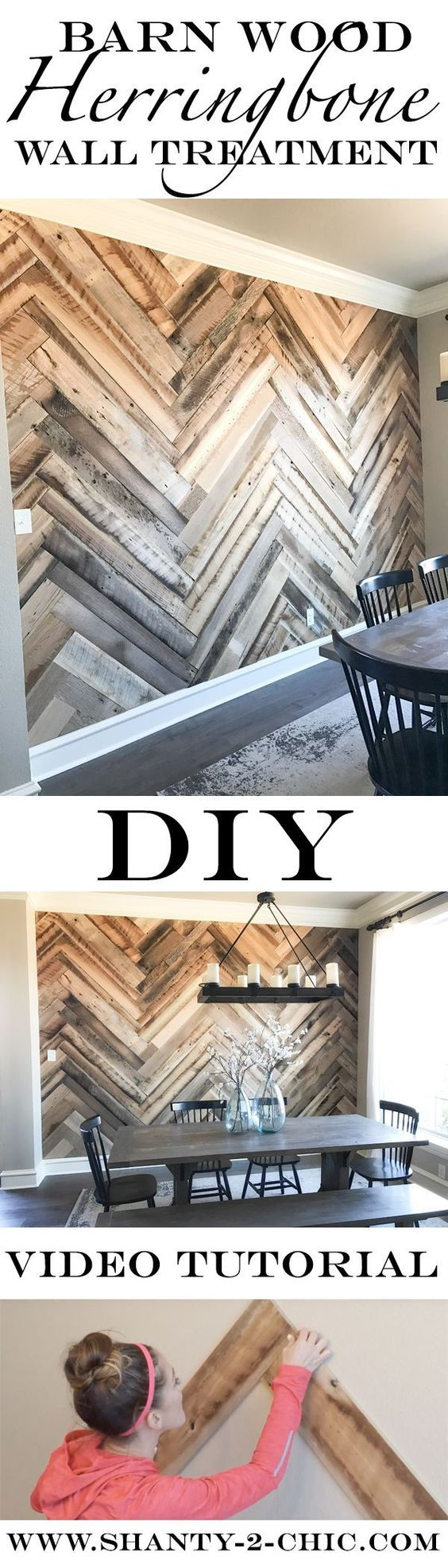 Reclaimed Barn Wood Herringbone Wall