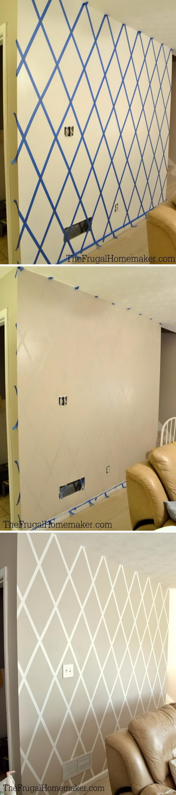 Diamond Accent Wall Using Scotchblue Tape.
