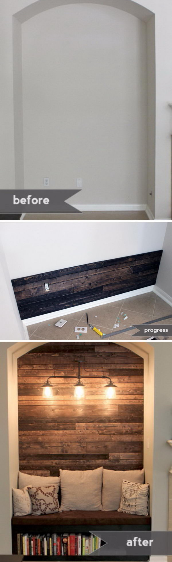 Reading Nook with Wood Plank Wall.