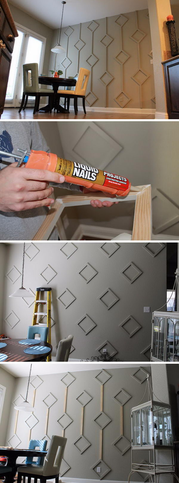 DIY Wood Diamond Wall.