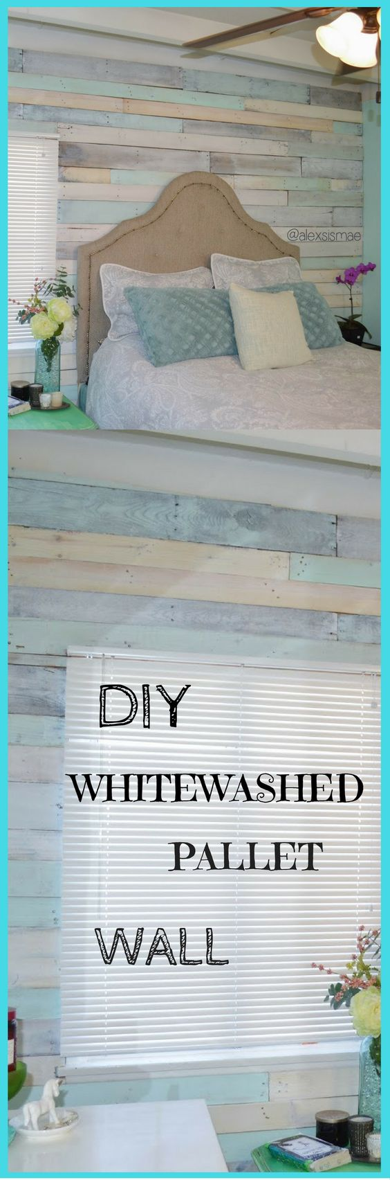 DIY Whitewashed Pallet Wall.