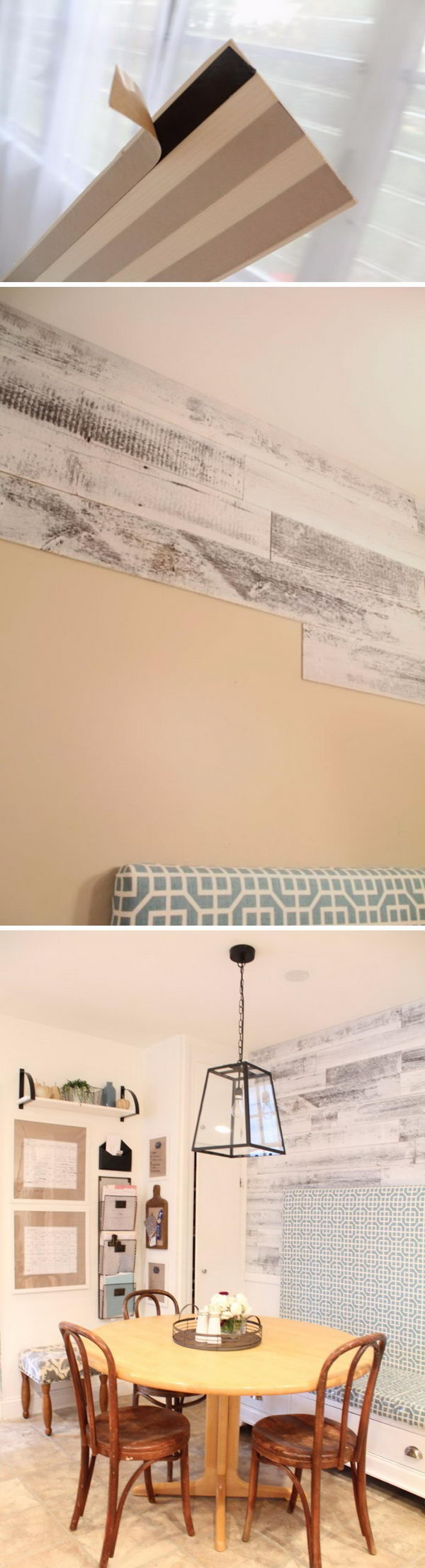 Peel and Stick Wood Planking Accent Wall.
