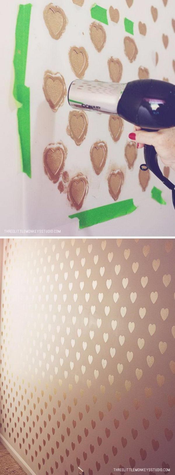 DIY Metallic Heart Feature Wall.