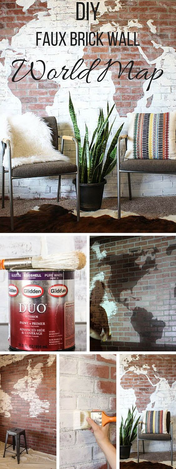 DIY Faux Brick Wall World Map.