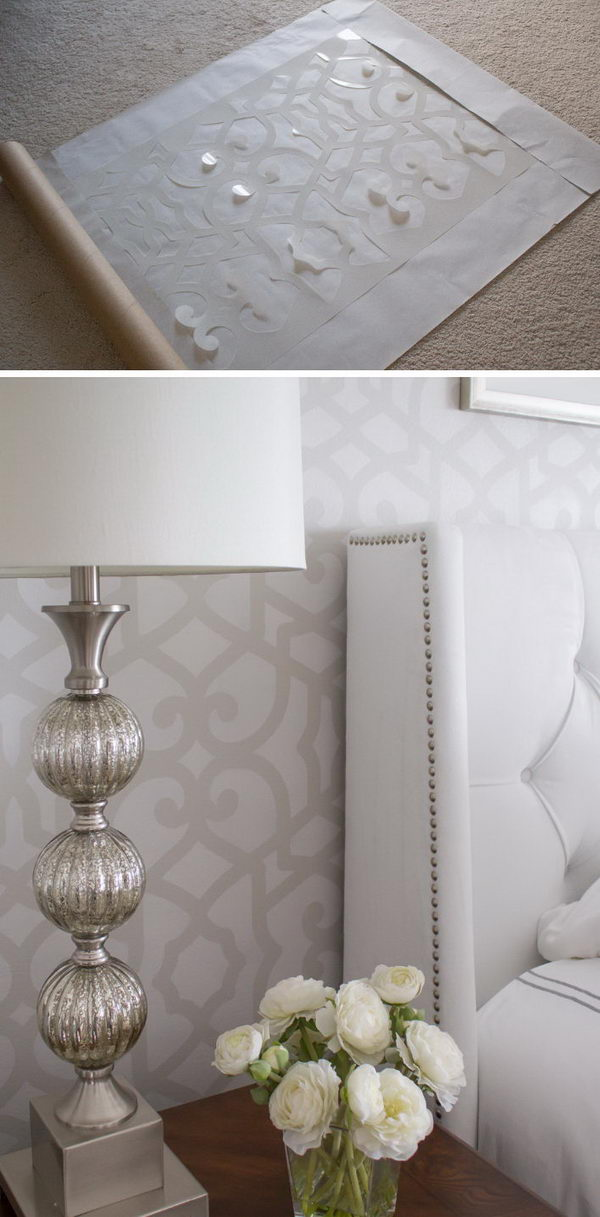 Stenciled Accent Wall.
