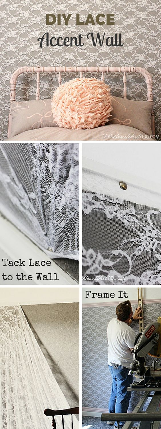 DIY Lace Accent Wall.