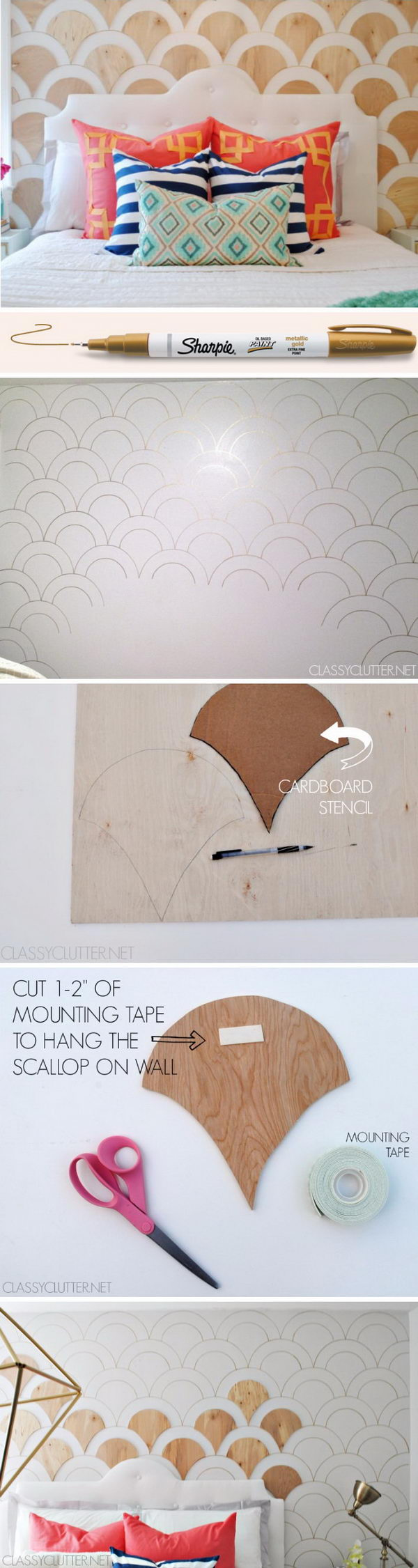 DIY Scalloped Wood Accent Wall.