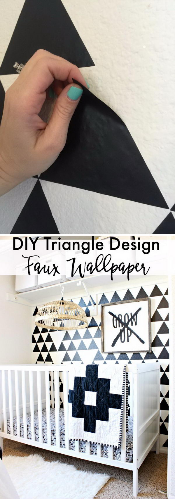 DIY Triangle Design Faux Wallpaper.