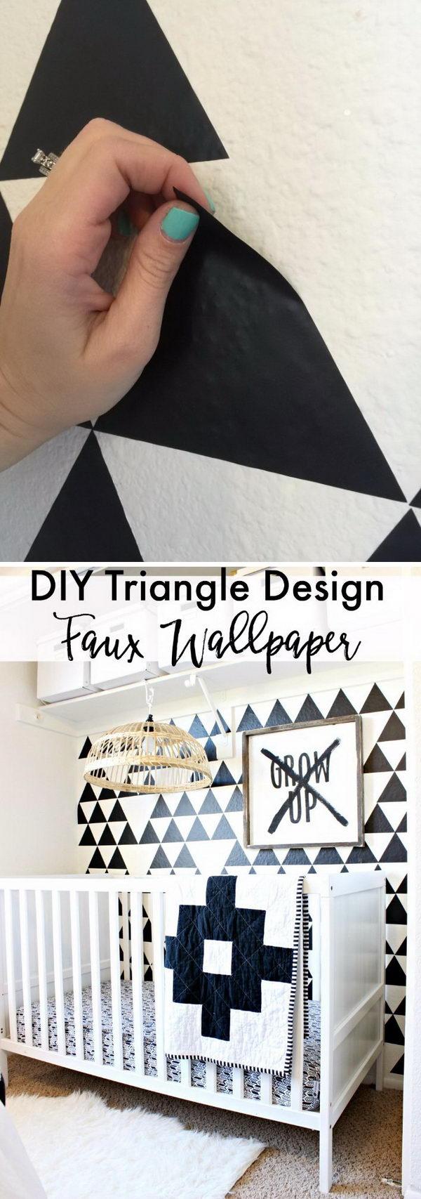 DIY Triangle Design Faux Wallpaper.