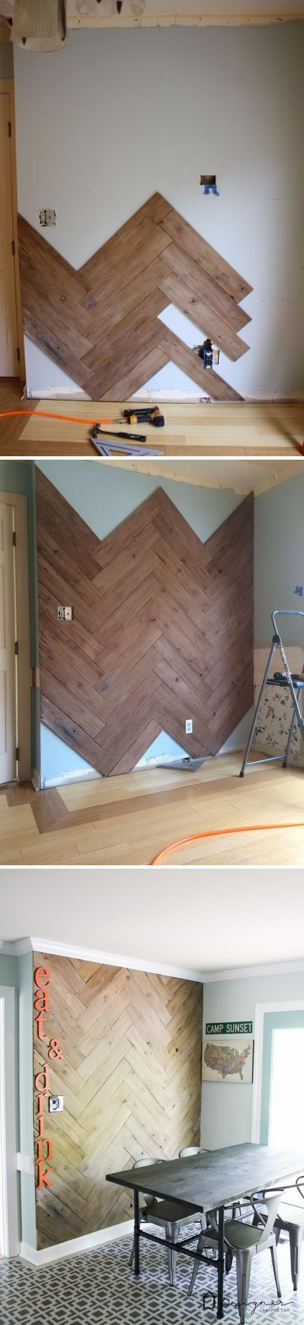 DIY Herringbone Plank Wall Upcyled from an Ugly, Old Fence.