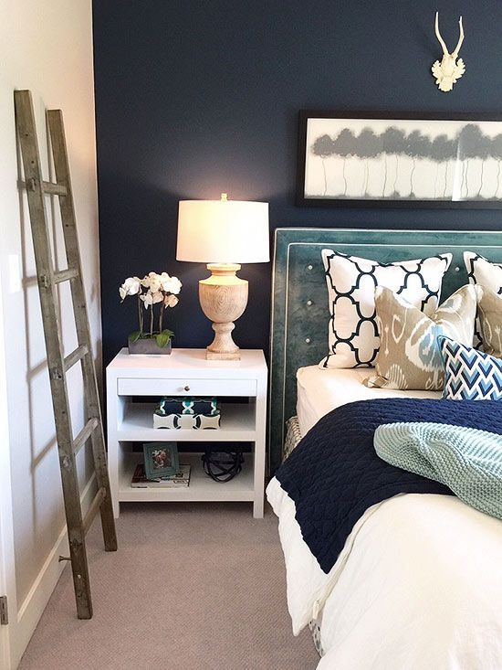 Painted Accent Wall Using Gentleman's Gray by Benjamin Moore.