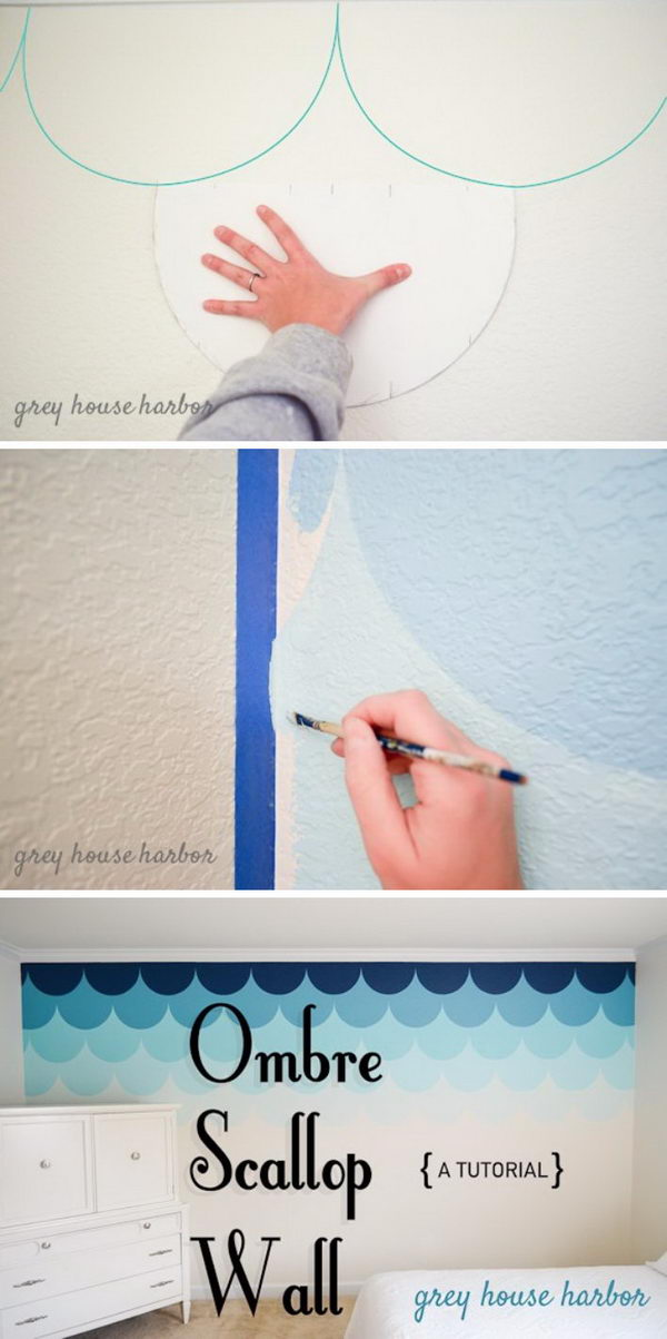 DIY Ombre Scallop Wall.