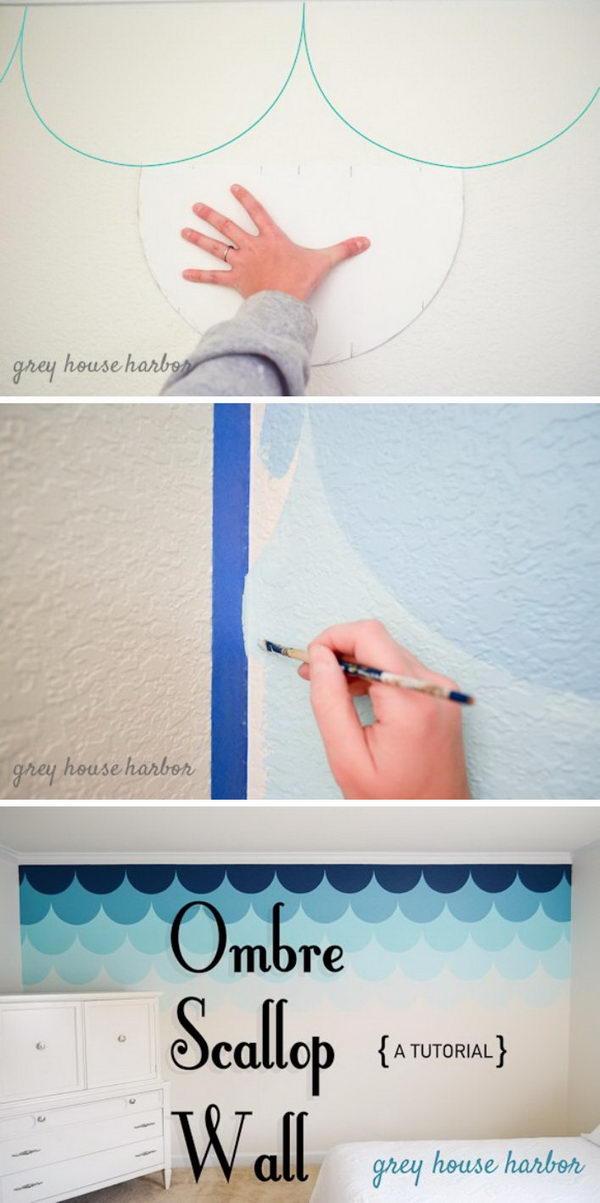 DIY Ombre Scallop Wall.
