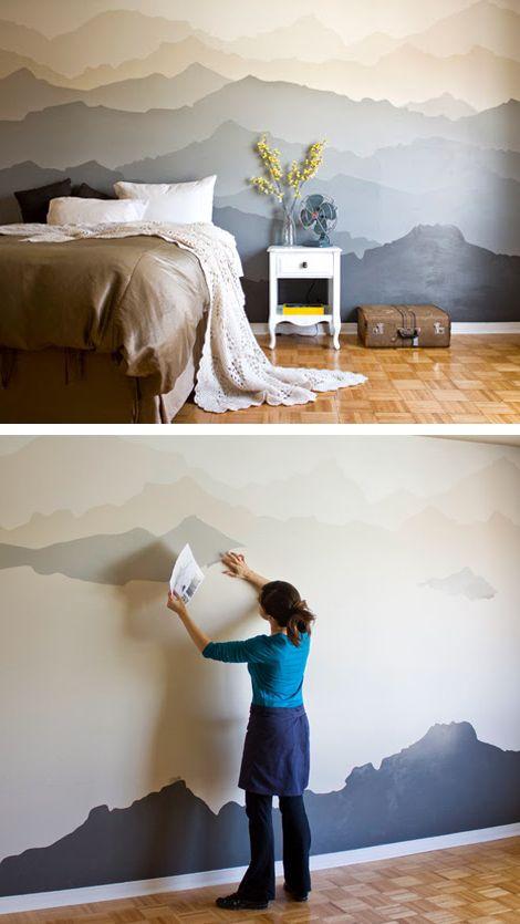 DIY Mountain Mural Wall.