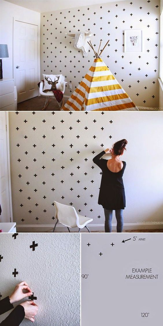 Washi Tape Patterned Wall Paper.