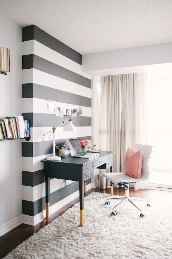 Black And White Striped Wall.