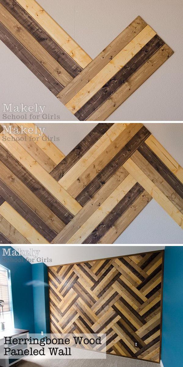 DIY Herringbone Wood Paneled Wall.
