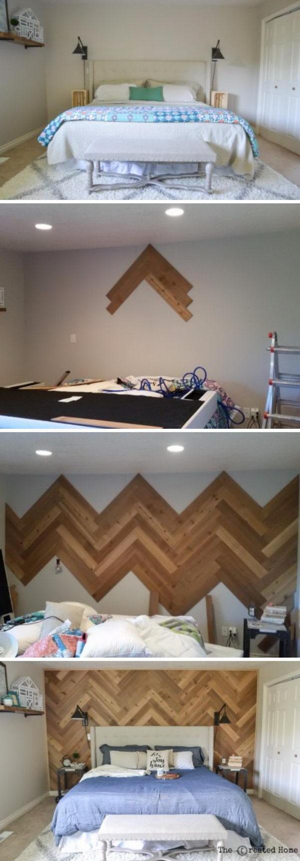 DIY Reclaimed Herringbone Accent Wall.